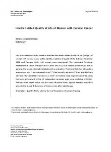 Health Related Quality of Life of Women with Cervical Cancer - SciELO