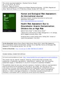 Health Risk Assessment Due to Groundwater Arsenic