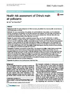 Health risk assessment of China's main air pollutants - Semantic Scholar