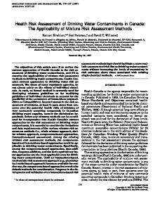 Health Risk Assessment of Drinking Water Contaminants in Canada ...