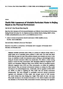 Health Risk Assessment of Inhalable Particulate Matter in ... - MDPI