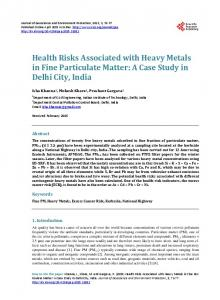 Health Risks Associated with Heavy Metals in Fine Particulate Matter ...