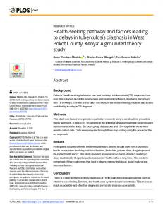 Health-seeking pathway and factors leading to delays in ... - PLOS
