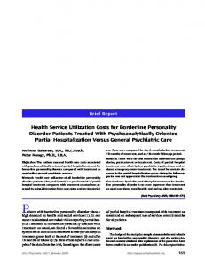 Health Service Utilization Costs for Borderline ... - PsychiatryOnline