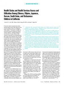 Health Status and Health Services Access and Utilization Among ...