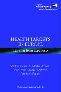 Health targets in Europe - WHO/Europe - World Health Organization