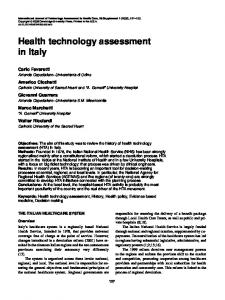 Health technology assessment in Italy - Semantic Scholar