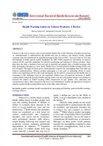 Health Warning Labels on Tobacco Products - International Journal of ...
