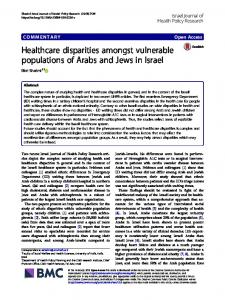 Healthcare disparities amongst vulnerable populations of Arabs and ...