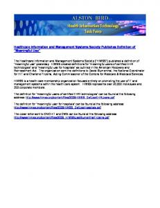 Healthcare Information and Management Systems Society ...