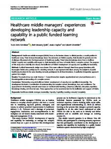 Healthcare middle managers` experiences developing leadership ...