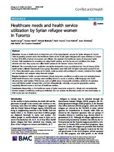 Healthcare needs and health service utilization by Syrian ... - ReliefWeb