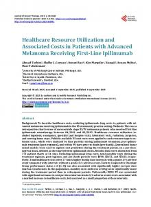 Healthcare Resource Utilization and Associated Costs in Patients with ...