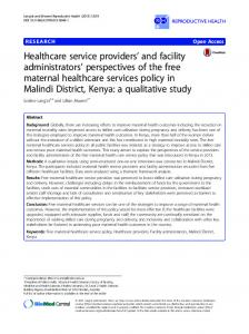 Healthcare service providers' and facility administrators' perspectives ...