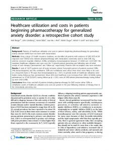 Healthcare utilization and costs in patients beginning ... - BioMedSearch