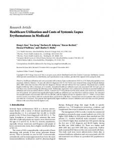 Healthcare Utilization and Costs of Systemic Lupus Erythematosus in ...