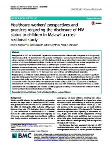 Healthcare workers' perspectives and practices regarding the ...