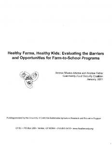 Healthy Farms, Healthy Kids: Evaluating the Barriers ... - Alivebynature
