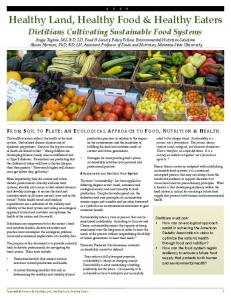 Healthy Land, Healthy Food & Healthy Eaters