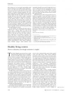 Healthy living centres - The BMJ