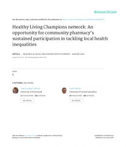 Healthy Living Champions network: An opportunity for
