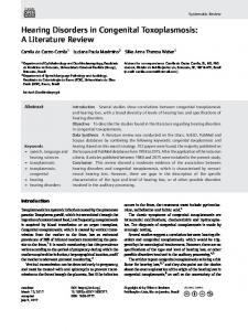 Hearing Disorders in Congenital Toxoplasmosis: A ... - Thieme Connect