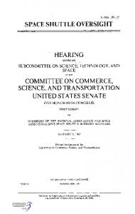 Hearing - Space Shuttle Oversight