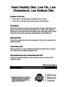 Heart Healthy Diet: Low Fat, Low Cholesterol, Low Sodium Diet