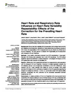 Heart Rate and Respiratory Rate Influence on Heart Rate ... - Core