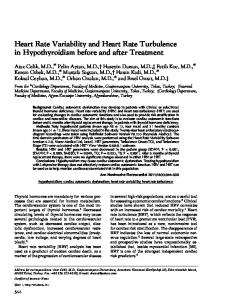 Heart Rate Variability and Heart Rate Turbulence in Hypothyroidism ...