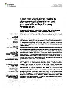 Heart rate variability is related to disease severity ... - Semantic Scholar