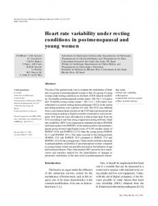 Heart rate variability under resting conditions in ... - SciELO