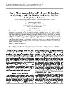 Heavy Metal Accumulation by Freshwater Hydrobionts ... - Springer Link