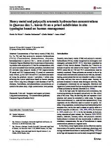 Heavy metal and polycyclic aromatic hydrocarbon concentrations ...