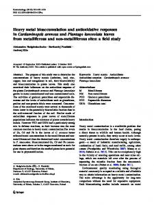 Heavy metal bioaccumulation and antioxidative ... - Springer Link