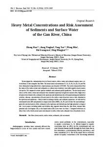 Heavy Metal Concentrations and Risk Assessment of Sediments and ...