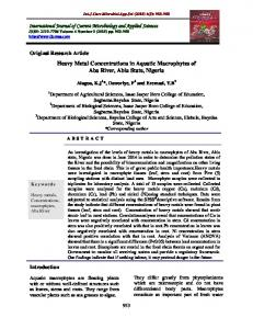 Heavy Metal Concentrations in Aquatic Macrophytes of Aba River ...