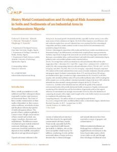 Heavy Metal Contamination and Ecological Risk Assessment in Soils
