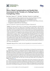 Heavy Metal Contamination and Health Risk Assessment in ... - MDPI