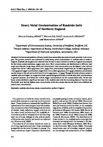 Heavy Metal Contamination of Roadside Soils of Northern England