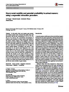 Heavy metal mobility and potential availability in