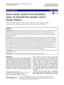 Heavy metal, nutrient and antioxidant status of selected fruit samples ...