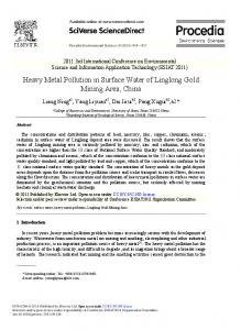 Heavy Metal Pollution in Surface Water of Linglong ... - ScienceDirect