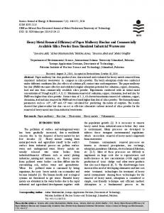 Heavy Metal Removal Efficiency of Paper Mulberry Biochar and ... - idosi
