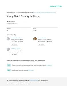 Heavy Metal Toxicity in Plants