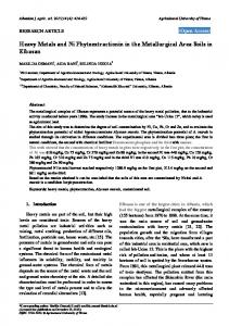Heavy Metals and Ni Phytoextractionin in the Metallurgical Area Soils ...