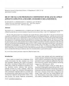 heavy metals and proximate composition of black sea sprat (sprattus ...