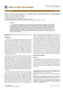 Heavy Metals Biosorption in Liquid Solid Fluidized