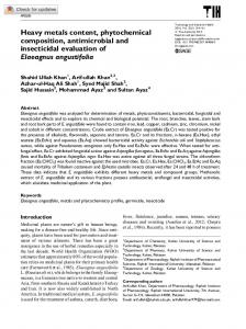Heavy metals content, phytochemical composition ... - SAGE Journals