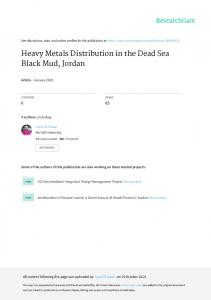 Heavy Metals Distribution in the Dead Sea Black Mud ...